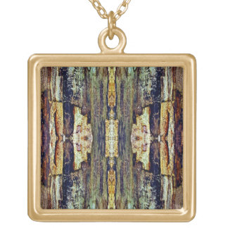 Treemo Gear Native Carvings Square Gold Necklace