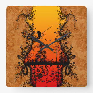 Trees and birds square wall clock