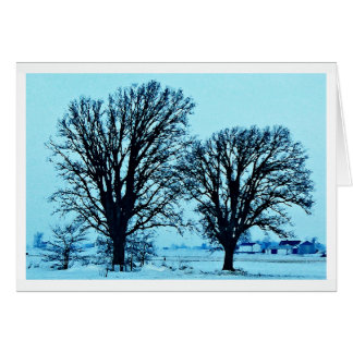 Trees and Farm in the Twilight with Snow Card