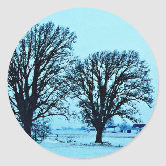 Trees and Farm in the Twilight with Snow Classic Round Sticker
