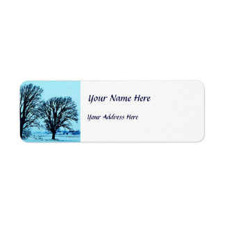 Trees and Farm in the Twilight with Snow Label