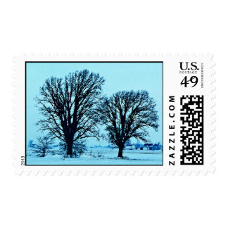 Trees and Farm in the Twilight with Snow Postage Stamps
