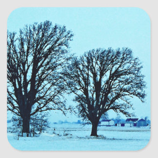 Trees and Farm in the Twilight with Snow Square Sticker