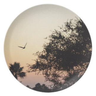 trees and flying bird against florida sunset dinner plate