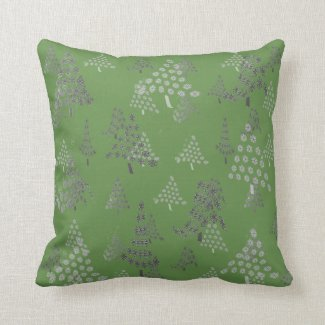 Trees and Forest Green Throw Pillow