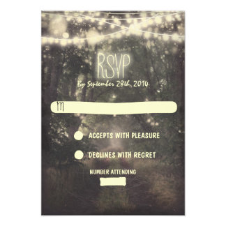 Trees and night lights wedding RSVP cards