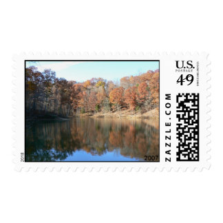 trees and pond postage