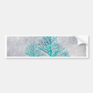 Trees and Snow Crystals Bumper Sticker