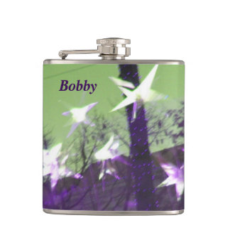 Trees and Stars Abstract Hip Flask