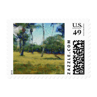 Trees and start of jungle stamp