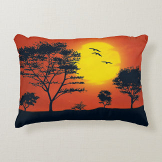 Trees and Sunset Scenery Decorative Pillow