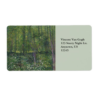Trees and Undergrowth by Vincent Van Gogh Shipping Label