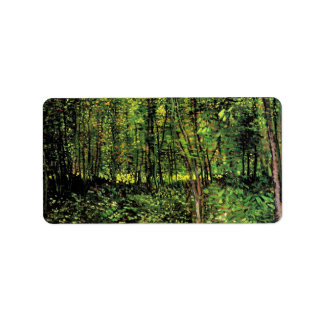 Trees and Undergrowth by Vincent van Gogh Address Label