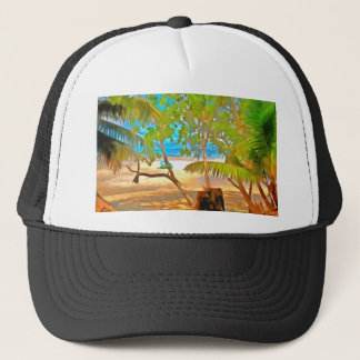 Trees and water trucker hat