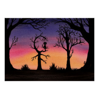 Trees at Dusk Poster