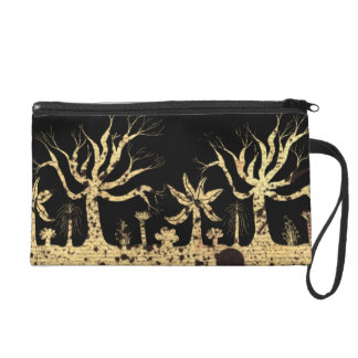 Trees at Night Wristlet Clutches