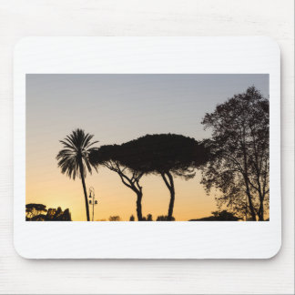 Trees at sunset in backlight in Rome Mouse Pad