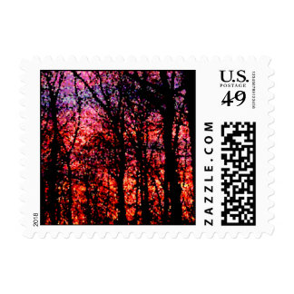 Trees at Sunset Postage Stamps