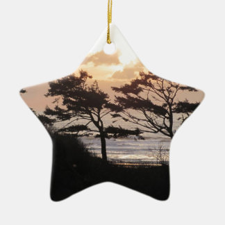 Trees at the Beach Ceramic Ornament
