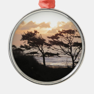 Trees at the Beach Metal Ornament