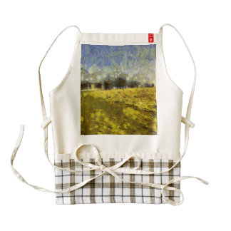 Trees at the top of a slope zazzle HEART apron