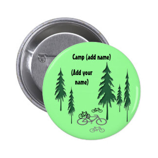 trees, bicycles, (Add yourname), Camp (add name) Pinback Button
