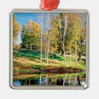 Trees Birch Vermont Square Metal Christmas Ornament