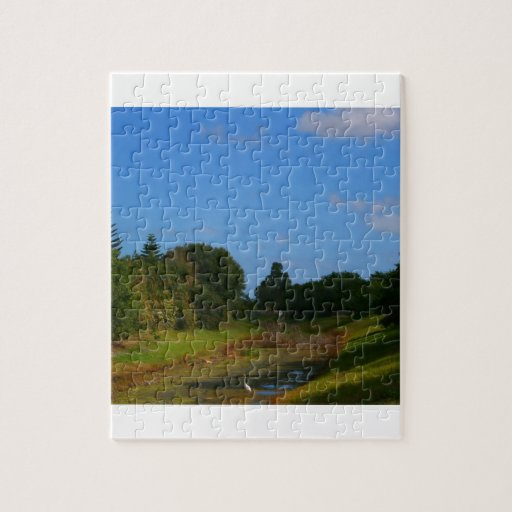 Trees blue sky small stream photograph in Florida Jigsaw Puzzle