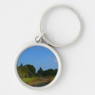 Trees blue sky small stream photograph in Florida Silver-Colored Round Keychain