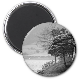 Trees by the lake 2 inch round magnet