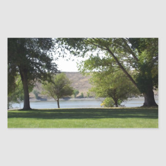 Trees by the Lake with Lawn Rectangular Sticker