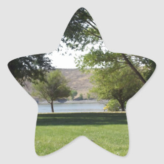 Trees by the Lake with Lawn Star Sticker