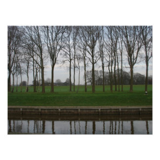 Trees, Canal and Polder Meadow Photo Poster
