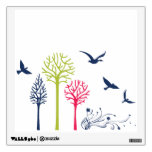 trees color with birds mural wall decal