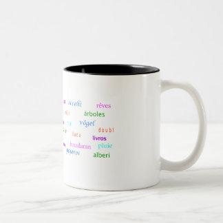 trees dreams typography multi-lingual Two-Tone coffee mug