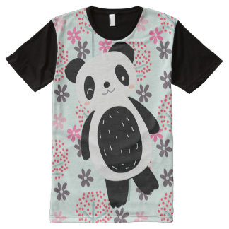 Trees, Flowers, and Panda Bears All-Over Print T-shirt
