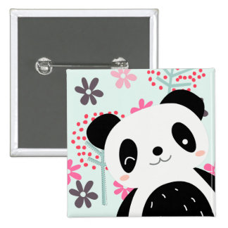 Trees, Flowers, and Panda Bears 2 Inch Square Button