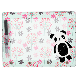 Trees, Flowers, and Panda Bears Dry Erase Board With Keychain Holder