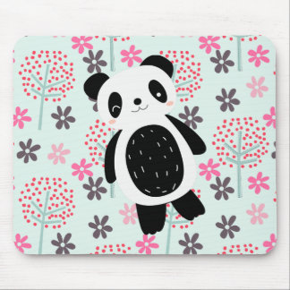 Trees, Flowers, and Panda Bears Mouse Pad