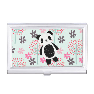 Trees, Flowers, and Panda Bears Business Card Case