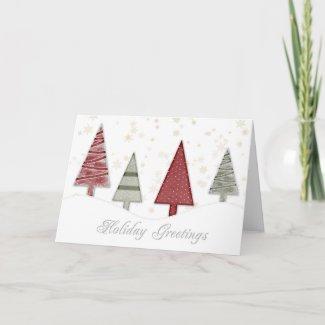 Trees Gold Snowflakes Christmas Greeting card