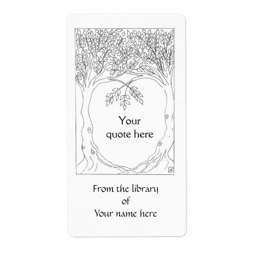Trees Growing Together Book Plate Shipping Labels