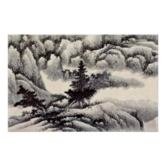 Trees in a Landscape by Gong Xian Poster
