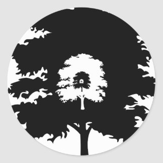 Trees in a line classic round sticker
