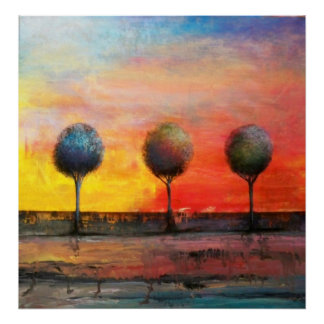 Trees in a Tuscan Sunset Poster