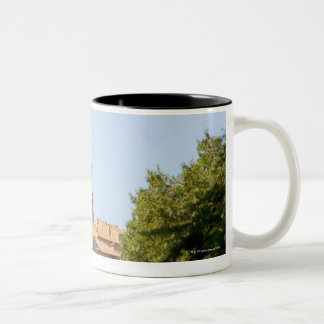 Trees in front of a building, Monteriggioni, Two-Tone Coffee Mug
