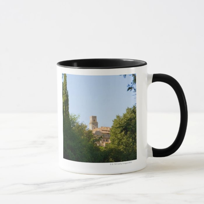 Trees in front of a building, Monteriggioni, Mug