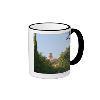 Trees in front of a building, Monteriggioni, Ringer Coffee Mug