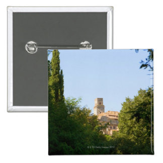 Trees in front of a building, Monteriggioni, Pinback Button