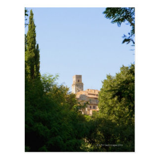 Trees in front of a building, Monteriggioni, Postcard